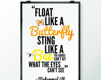 Muhammad Ali Float Like a Butterfly Sting Like a Bee Inspirational Quote Poster Print Art Typography Wall Art