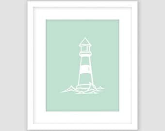 Lighthouse Print, Mint Green and White Print, Ocean Nautical Wall Art, Modern Art, Instant Download, DIY, Printable