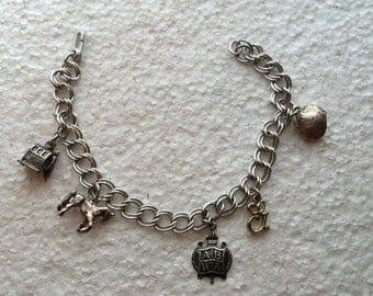 Vintage Sterling Silver Charm Bracelet with 5 Charms