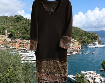 "Women DRESS ""Portofino"" an elegant dress of black jersey long sleeves"