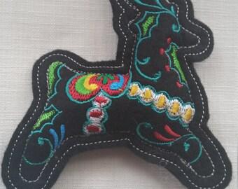 X006B.     Black  Reindeer Felt Christmas Tree Decoration