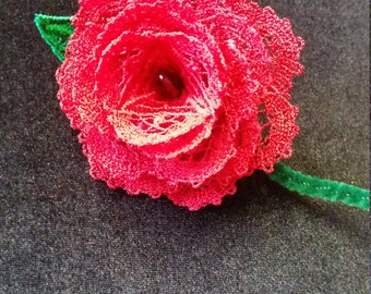 B004. Red lace rose