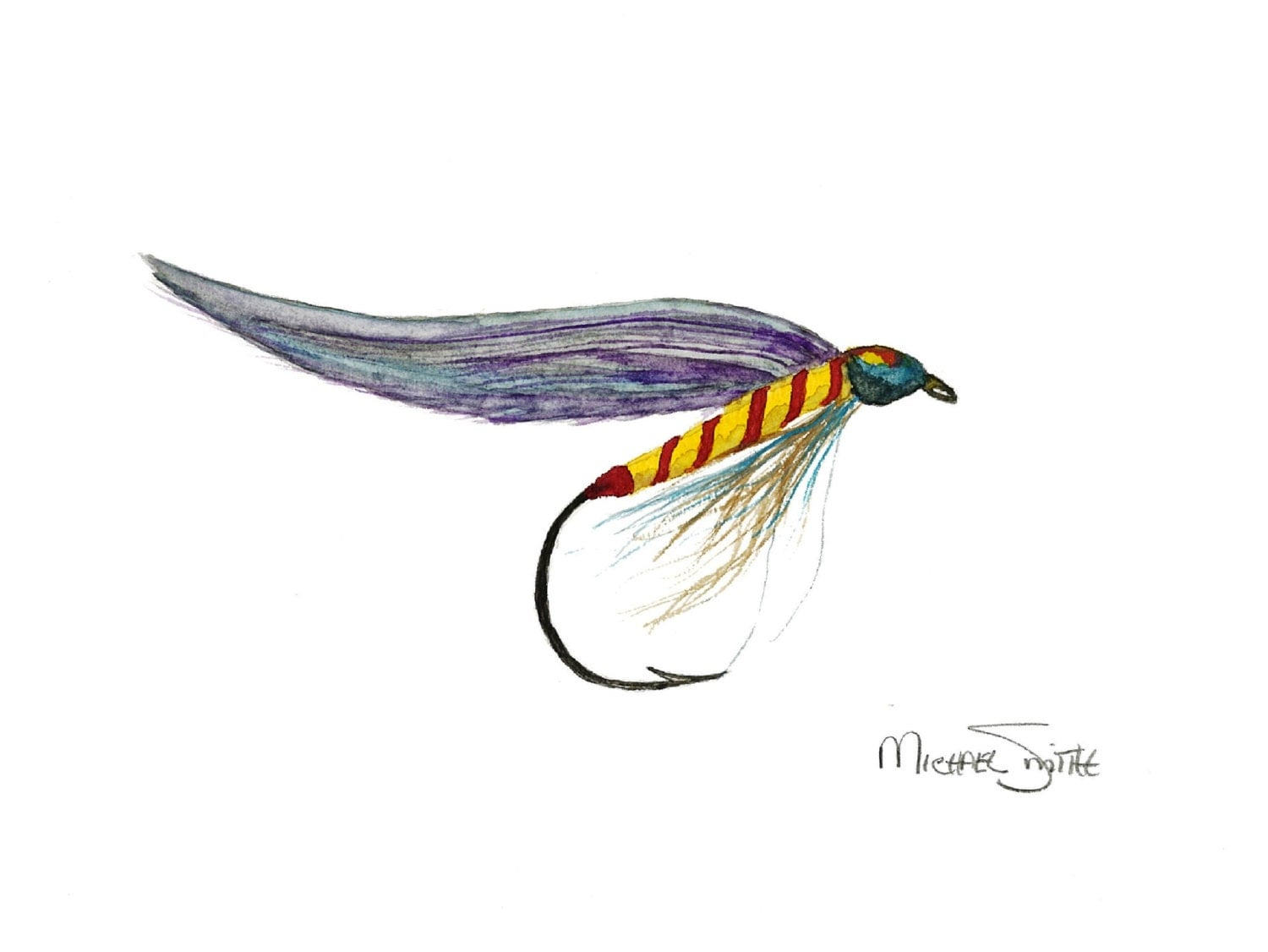 Fly fishing lure painting available as a watercolor print for Fishing lure paint