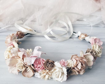 Bridal crown, Bridal flower crown, bridal headband, flower crown, floral crown, boho crown, Rustic headpiece, Woodland headpiece