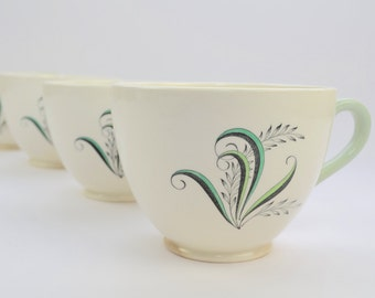 Copeland Spode 'Olympus' teacup, green, black, and white, classic 1950s look