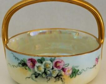 Vintage Gold Trimmed Hand Painted Porcelain Basket