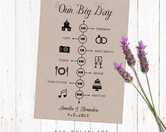 Wedding timeline template card. Digital printable timeline card design. Fully editable Photoshop PSD file 5x7 inch.