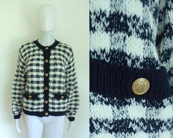 40%offJuly25-27 80s plaid cardigan size medium, navy blue white cotton checkered sweater, 1980s liz claiborne designer womens jumper