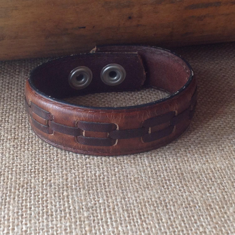brown leather belt bracelet