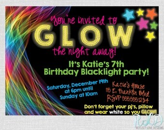 glow in the dark invitations | etsy, Party invitations