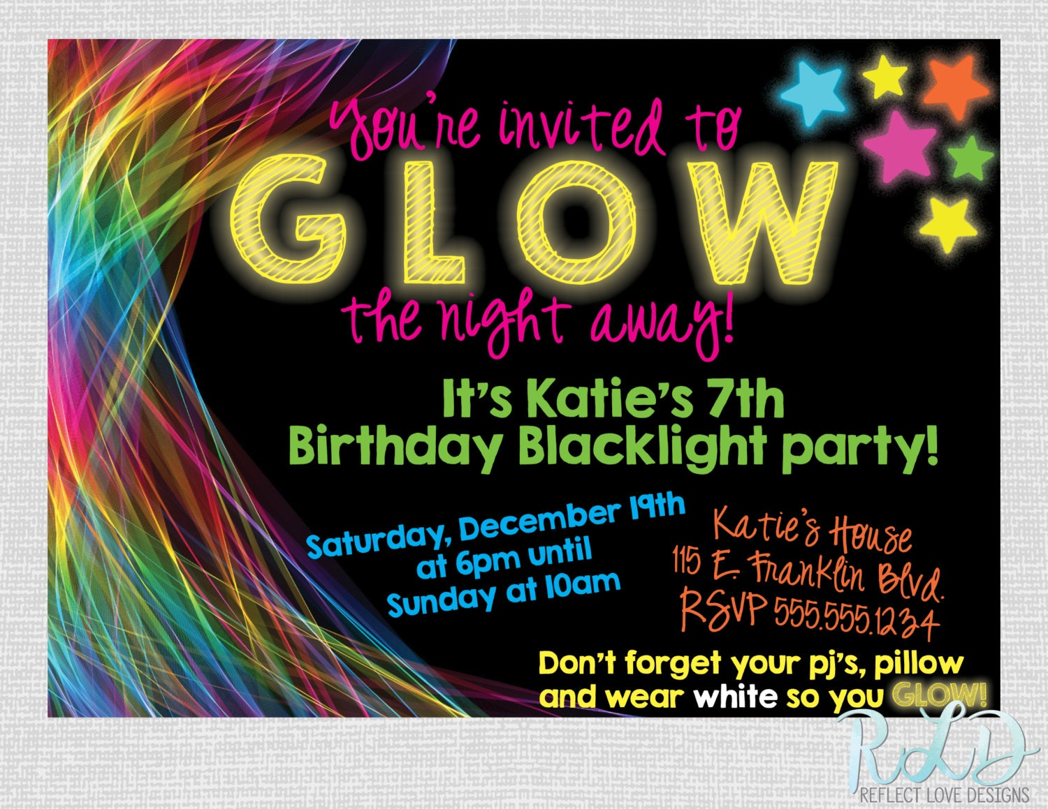 black-light-party-invitations