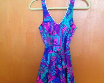 90s one peice bathing suit/ psychedelic swim suit/ 80's swimsuit