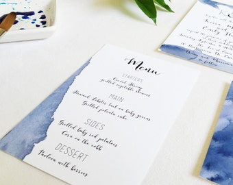 Blue watercolor printable Menu, custom, DIY wedding suite