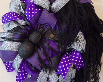 Black and Purple Halloween Spider Mesh Wreath with Creepy Cloth; Scary Halloween Decor; Fall Wreath Fall Decor Halloween Spider Door Decor