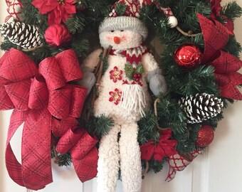 Snowman Christmas Wreath; Pine Wreath; Primitive Christmas Wreath; Rustic Christmas Wreath; Primitive Holiday Decor; Handmade Wreath