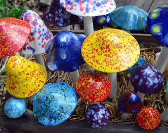 Ceramic Mushroom  Set, Mushroom Variety Packs-THE CLASSY TONES,  Outdoor Decoration, Colorful Garden Stakes,  Home Decor