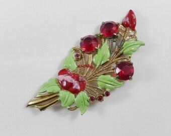 Vintage Large Enamel and Rhinestone Flower Brooch Pin