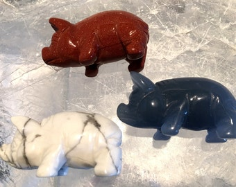Gemstone Pig   Pig Figurine   Pig Collector Item   Gemstone Carving   Carved Gemstone   YOUR CHOICE