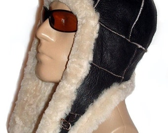 ON SALE NOW Sheepskin Bomber Aviator Hat Helmet Handmade with natural Shearling by Katz Leather.