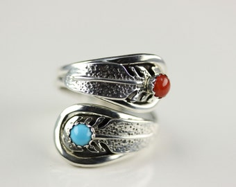 Navajo Indian Jewelry Sterling Silver Turquoise And Coral Adjustable Ring