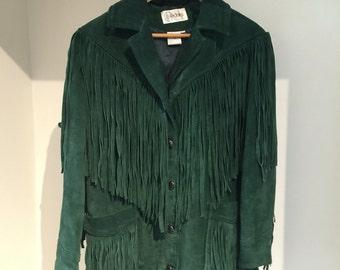Green Suede Fringe Jacket