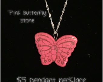 Pink butterfly pendant necklace!