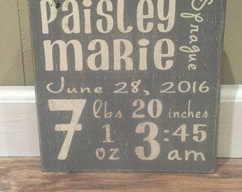 baby stats block distressed- Personalized - nursery decor-birth anouncement