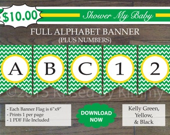 Green Yellow Baby Shower - 70% Off - FULL ALPHABET + Numbers Banner -Printable Deere Tractor Birthday Banner-Kelly Green Yellow Chevron 7-5