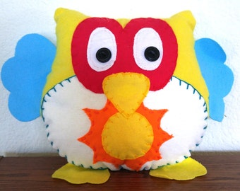 Sun Owl Plushie: Yellow, Red & Blue