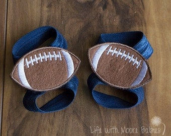 Barefoot Baby Sandal Football Patches, Football Barefoot Baby Sandals, Navy Blue Elastic Baby Shoe, Giants, Cowboys, Broncos, Chargers, Rams