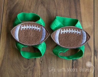 Barefoot Baby Sandal Football Patches, Interchangeable Baby Barefoot Sandals with Football Patches, Green Football Baby Sandals, Baby Gift