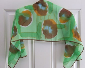 Vintage Chiffon Scarf, Retro Scarf, Beautiful Spotted Scarf, Colorful Scarf, Green, Brown, Orange Scarf, Gift For Her, Beautiful Scarf