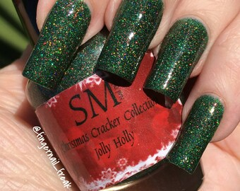 30% OFF!! HUGE stock clearance SALE!!Jolly Holly/green glitter nailpolish/ jelly nail polish/ 5 free indie Nailpolish