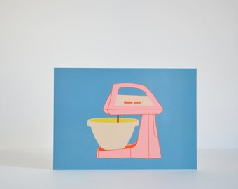 "Postcard ""Pink mixer"" - Home decor - Kitchen"