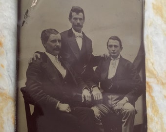 Antique Tintype 1800s Handsome Brothers