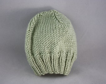 hats, baby hats, children's hats, green hats, hand knit hats, knit hats, stretchy hats