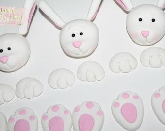 1x Edible Cute Rabbit Easter Bunny Fondant Cake Topper