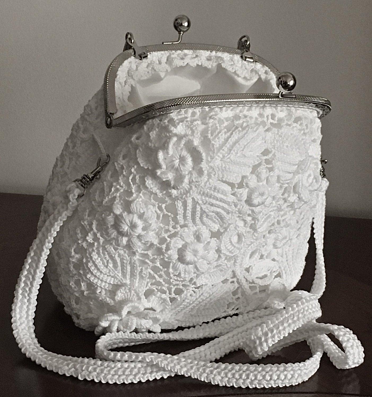 Crochet Wedding Clutch Purse Bag. Irish Crochet. By LuckyMila