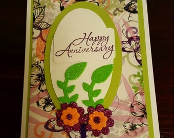 Handmade Happy Anniversary, Anniversary Card, Greeting Card, Note card, gift for couples, gift for her, fan fold card