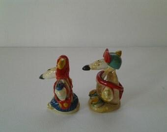 Vintage seashell figurines / Cute seashell couple / Funny figures