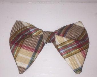 Vintage Plaid Bow Tie / 70s