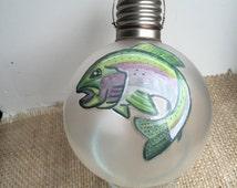 Fish Art, Hand Painted Fish Art, Salmon Art, Salmon Fish Art, Hand Painted Salmon, Painted Salmon on Antique Light Bulb, Fish Decor