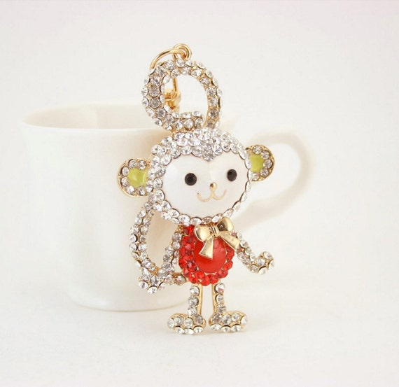 Red, Blue, Pink Monkey Tail Keychain Bag Charm (KCbm) Keyring Rhinestones