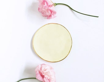 Small Porcelain plate with Gold- Pastel yellow