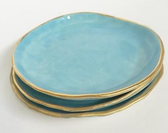 Gold plate limoges Porcelain large blue