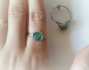 Aventurine stone ring, boho ring,wire wrapped ring, hippie ring, adjustable ring, boho adjustable ring, hippie green stone ring, boho ring