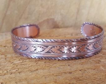 Hand Engraved Copper Bracelet, Men's Bracelet, Cuff Bracelet, vintage look