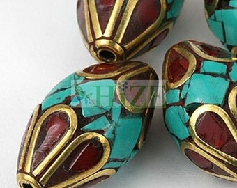 HIZE TBE82 Tibetan Nepalese Turquoise Red Coral Inlaid Brass Tubular Oval Beads 12mm (4)