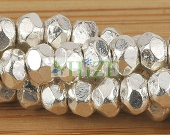 HIZE BX036 Thai Karen Hill Tribe Silver Faceted Rondelle Spacer Beads 4mm (45)