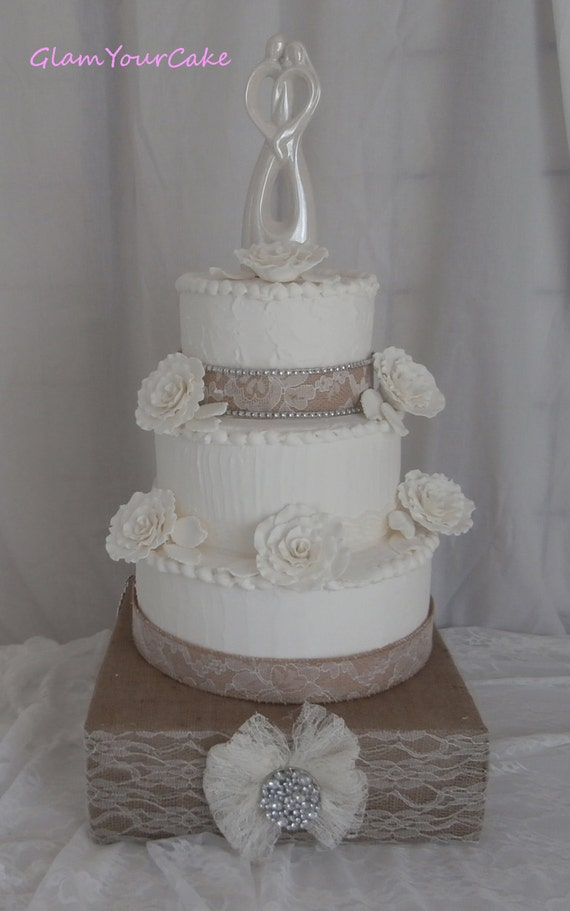 square rustic wedding cakes rustic wedding cake kit 18in square burlap by glamyourcake 20366